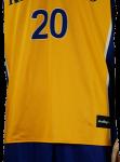 Basketball Uniform Ivanhoe Gold Royal Blue Game Uniform Front