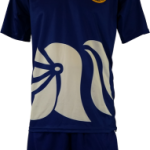 Basketball Warm Up Top Ivanhoe Royal Blue Short Sleeve Front