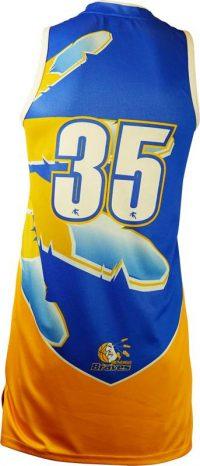 Item 8375 - Basketball Singlet Bendigo Braves Royal Blue Gold Game Singlet Back