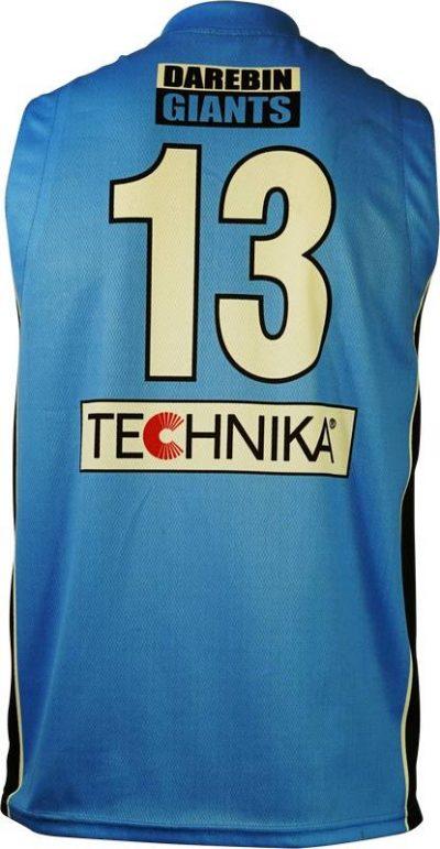Item 8379 - Basketball Singlet Darebin Giants Sky Blue Black Game Singlet Back