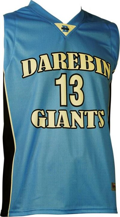 Basketball Singlet Darebin Giants Sky Blue Black Game Singlet Front