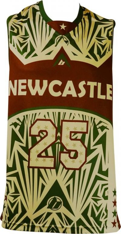 Basketball Singlet Newcastle Falcons Brown Green Game Singlet Front