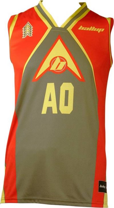Basketball Singlet Ball Up4 Grey Red Game Singlet Front