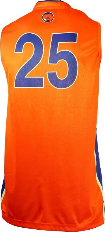 Item 8393 - Basketball Singlet Sabres Orange Game Singlet Back