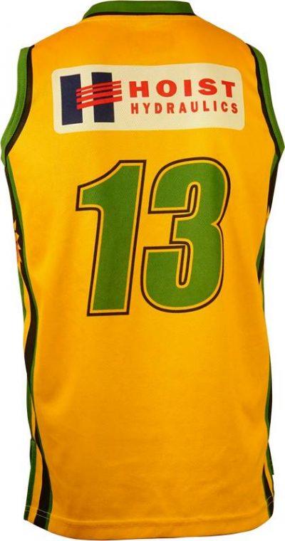 Basketball Singlet Sherbrooke Suns Yellow Game Singlet Back