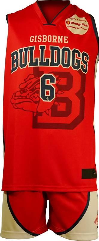 Basketball Singlet Gisborne Bulldogs Red Game Singlet Front