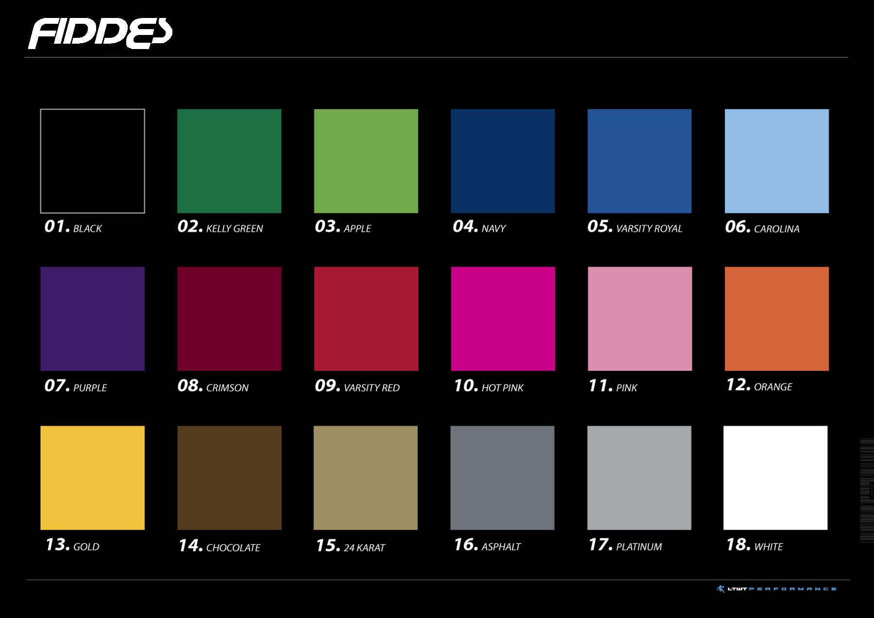 Fiddes Custom Uniform Colours