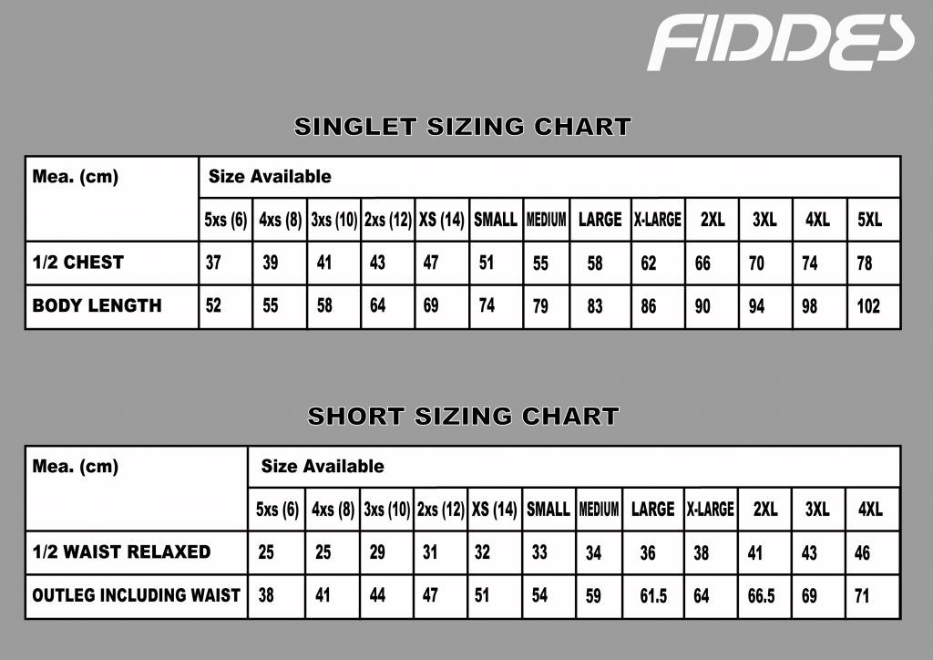 Size Chart for shorts and shirts