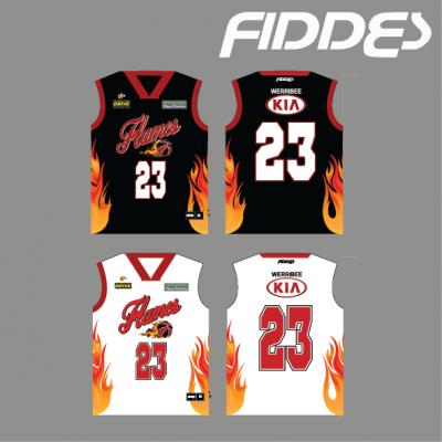 werribee flames uniform reversible singlet