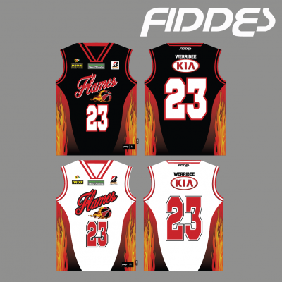 werribee flames uniform reversible singlet